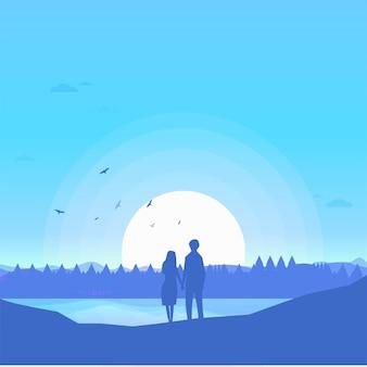 Due amanti amanti felici guardando il cielo blu