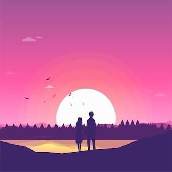Due amanti amanti felici guardando l'orizzonte