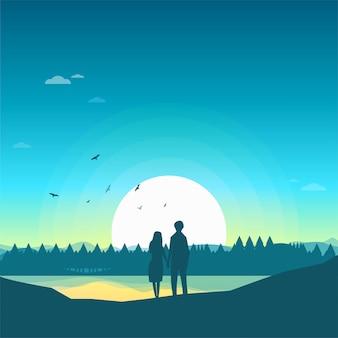 Due amanti amanti felici guardando la foresta