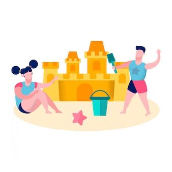 Due bambini che costruiscono l'illustrazione di vettore del castello di sabbia