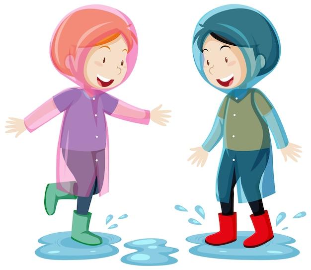 Due bambini che indossano l'impermeabile saltando in pozzanghere in stile cartone animato isolato su sfondo bianco