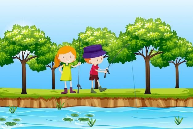 Due bambini che pescano la scena del lago