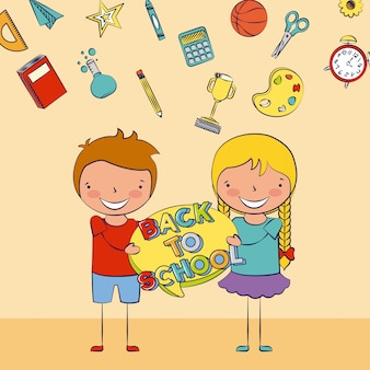Due bambini tornano a scuola con alcuni elementi scolastici illustrazione