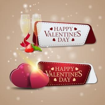 Due banner di auguri per san valentino con bicchieri di champagne e cuori