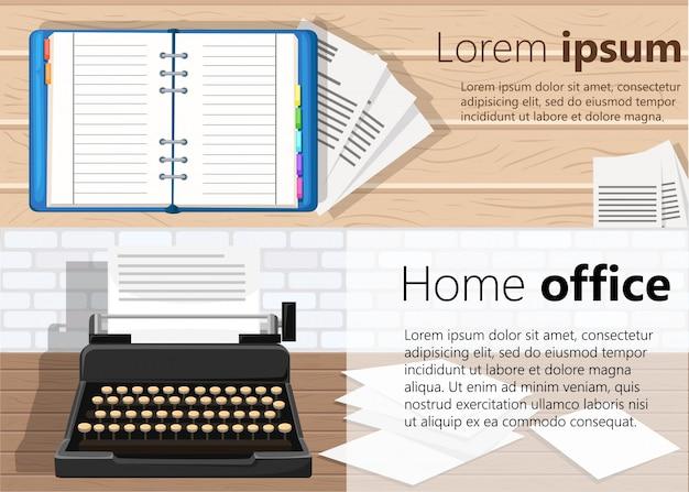 Due banner per il web. tema di office. posto di lavoro. illustrazione di progettazione. pagina del sito web e elemento di design dell'app mobile.