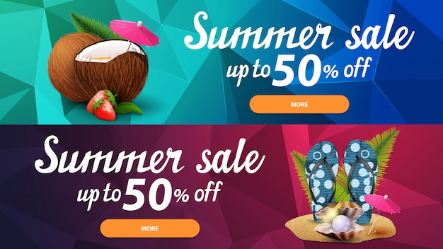 Due banner web di sconto per le vendite estive con trama poligonale