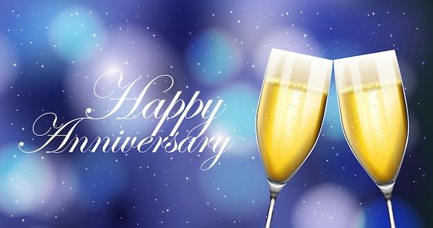 Due bicchieri di champagne sulla carta anniveraria