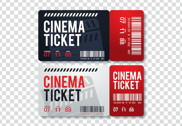 Due biglietti del cinema isolati su sfondo trasparente. illustrazione di vista frontale realistico