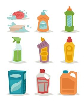 Due bottiglie di plastica spray detergente con illustrazione piatta liquido di pulizia.
