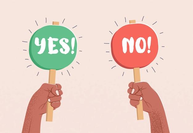 Due bracci sollevati che reggono tavoli con didascalia sì e no. concetto di scelta.