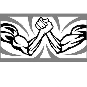 Due braccia di un match di wrestling