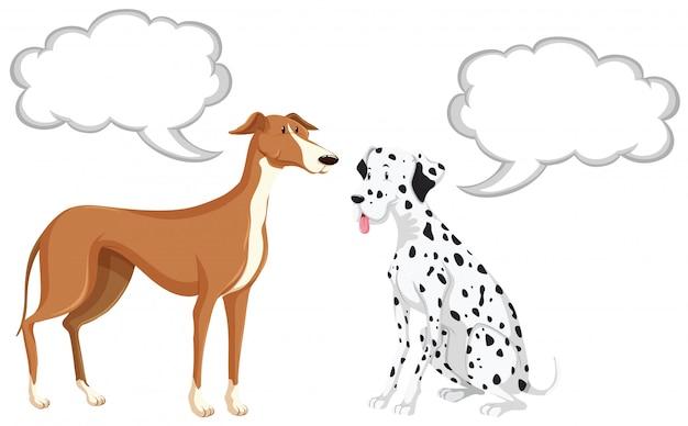 Due cani con bolle di discorso