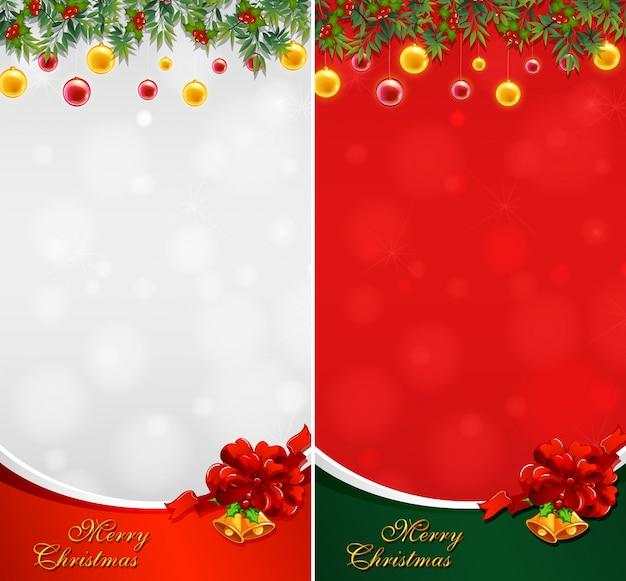 Due cartoline di natale con palline e campane