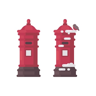Due cassette postali vintage rosse con neve. vecchie caselle postali in attesa di lettere a babbo natale