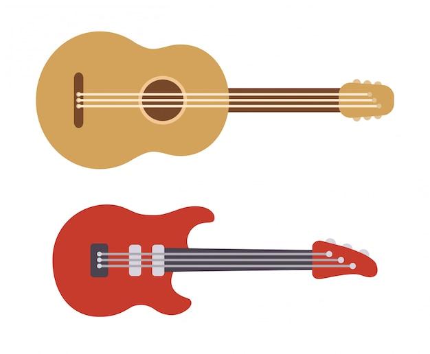 Due chitarre stilizzate piatte: acustica classica e moderna elettrica. illustrazione semplice del fumetto degli strumenti musicali.