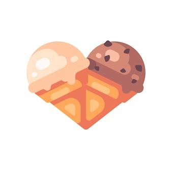 Due coni gelato a forma di cuore. icona piana di gelato alla vaniglia e cioccolato