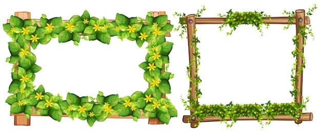 Due cornici di design con foglie illustrazione