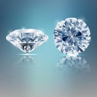 Due diamanti scintillanti sullo sfondo