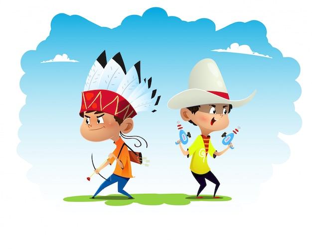 Due divertenti cartoni animati per bambini vestiti come indiani e cowboy