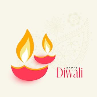 Due diwali diya su sfondo bianco