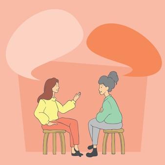 Due donne che parlano. illustrazioni disegnate a mano di progettazione di scarabocchio di stile di vettore.