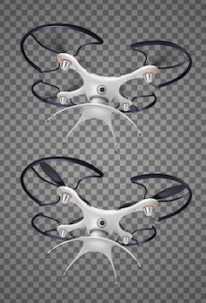 Due droni con set di icone trasparenti realistiche della fotocamera per esigenze militari diverse di protezione logistica