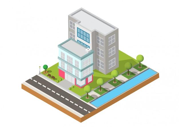 Due edifici su yard con strada