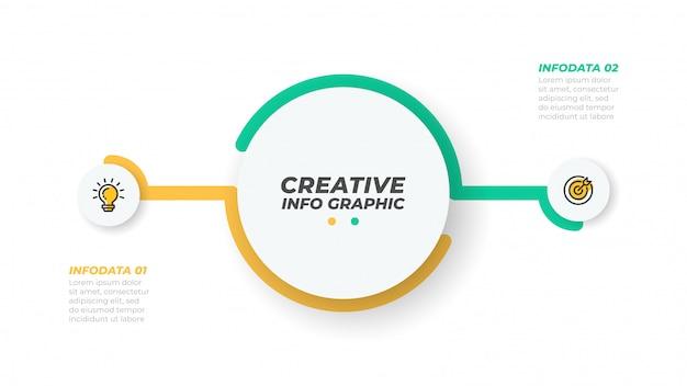 Due elementi infografica. concetto di business con 2 opzioni, passaggi o processi. visualizzazione dati. illustrazione vettoriale