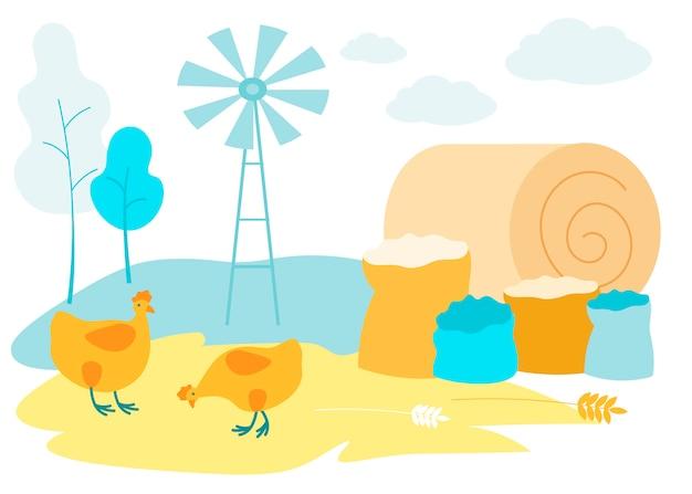Due galline sul campo. pagliaio e sacchi di grano.