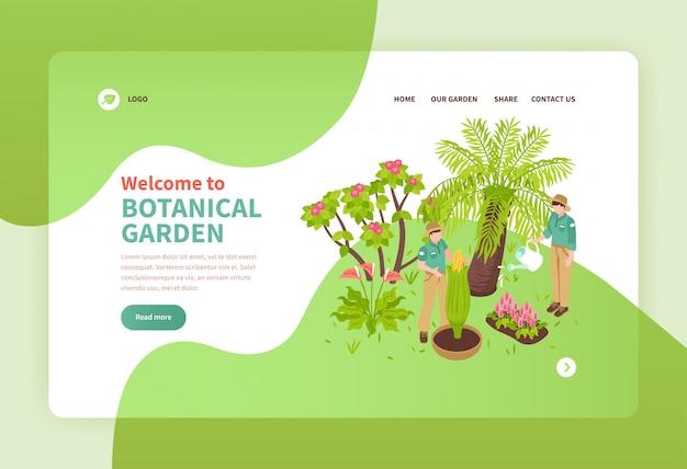 Due genti che lavorano nel giardino botanico con l'insegna isometrica 3d delle piante esotiche