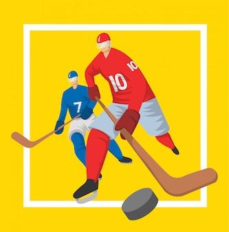 Due giocatori di hockey in stile astratto. illutration, modello per poster sportivo.