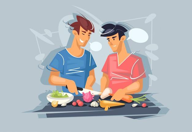 Due giovani ragazzi stanno cucinando. coppia omosessuale. dieta sana. cibo vegetariano sano.