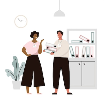 Due impiegati in ufficio discutono di problemi di lavoro. conversazione di due impiegati. illustrazione piatta.