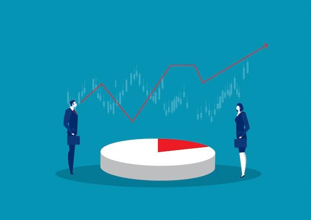 Due imprese che guardano al risultato di un progetto commerciale, analisi e statistiche nella rappresentazione visiva,.