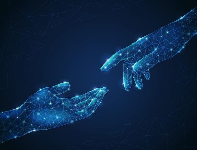 Due mani umane wireframe poligonali luminescenti che si allungano l'una verso l'altra