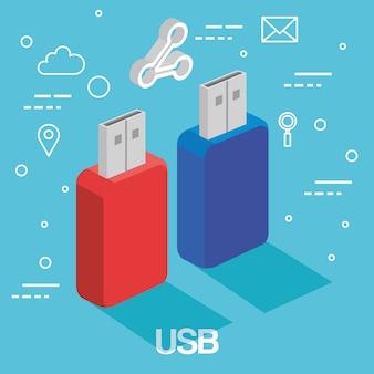 Due memorie usb supportano la tecnologia degli accessori di backup