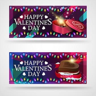 Due moderni banner di auguri per san valentino con cioccolatini a forma di cuori