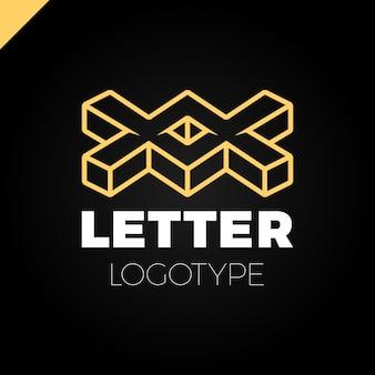 Due o doppio disegno dell'icona logo lettera x isometrica