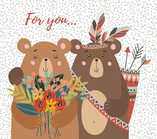 Due orsi con bouquet di fiori e piume tribali