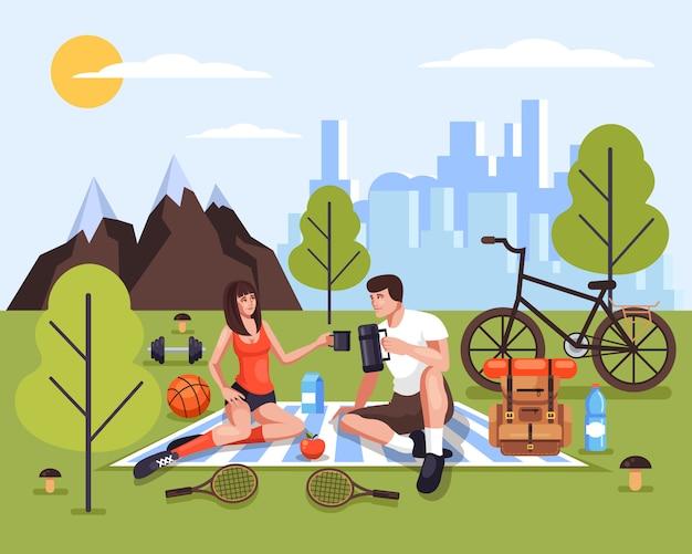 Due persone uomo e donna coppia i caratteri dei turisti che si rilassano nel parco naturale