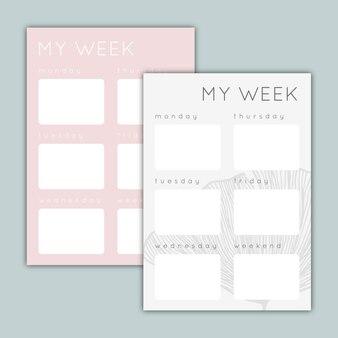 Due pianificatori settimanali a colori pastello