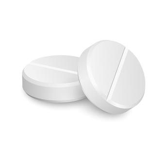 Due pillole mediche realistiche di vettore isolate