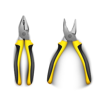 Due pinze aperte e chiuse, con manici in gomma nera e gialla. illustrazione realistica su uno sfondo bianco. utensili manuali per riparazione, costruzione e manutenzione