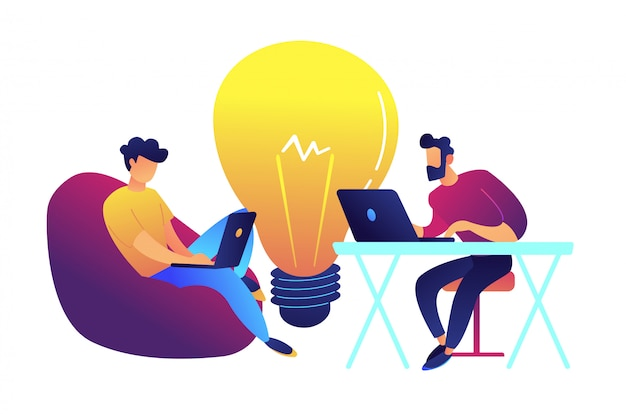 Due programmatori che lavorano con il computer portatile e la grande lampadina vector l'illustrazione.
