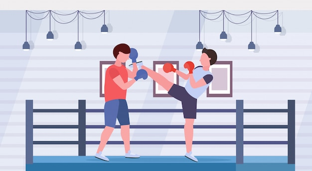 Due pugili allenamento kick boxing esercizi combattenti in guanti pratica insieme moderno lotta club di ring arena interni stile di vita sano concetto piatto orizzontale a figura intera