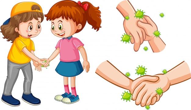 Due ragazze si stringono la mano con cellule di coronavirus