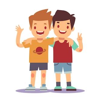 Due ragazzi che si abbracciano