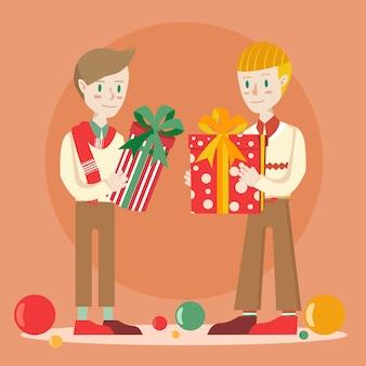 Due ragazzi che si scambiano il regalo di natale