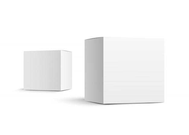 Due scatole di carta isolate su fondo bianco. realistico.