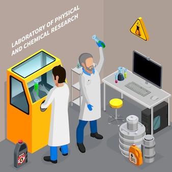 Due scienziati che ricercano olio nell'illustrazione isometrica di vettore del laboratorio chimico 3d
